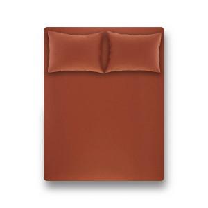 Простирадло на резинці з наволочками Penelope - Laura brick red цегляний 160*200 + 50*70 (2)